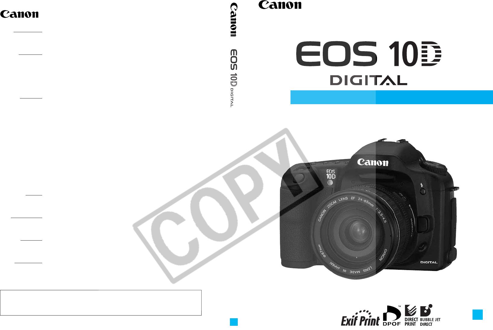 handleiding canon eos 10d pagina 1 van 183 english rh gebruikershandleiding com manual eos 10d manual canon 7d