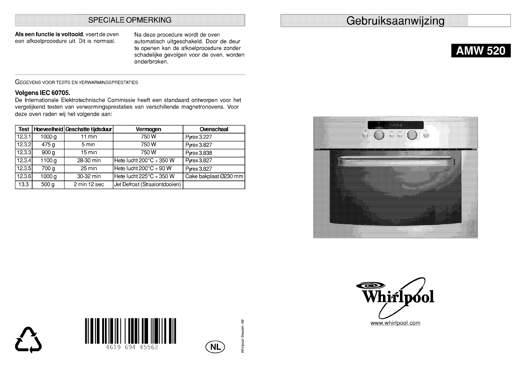 Whirlpool oven handleiding