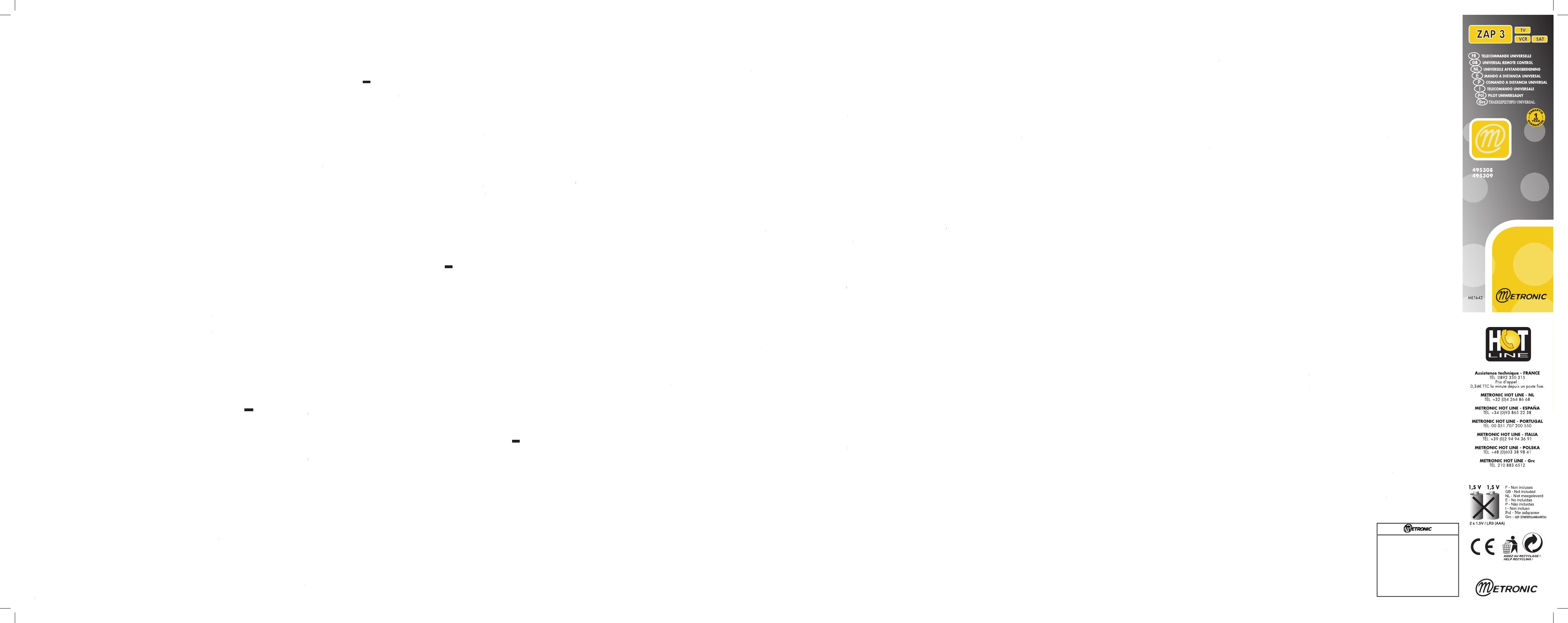 Handleiding Metronic ZAP 3 - 495309 (pagina 1 van 2) (English ...
