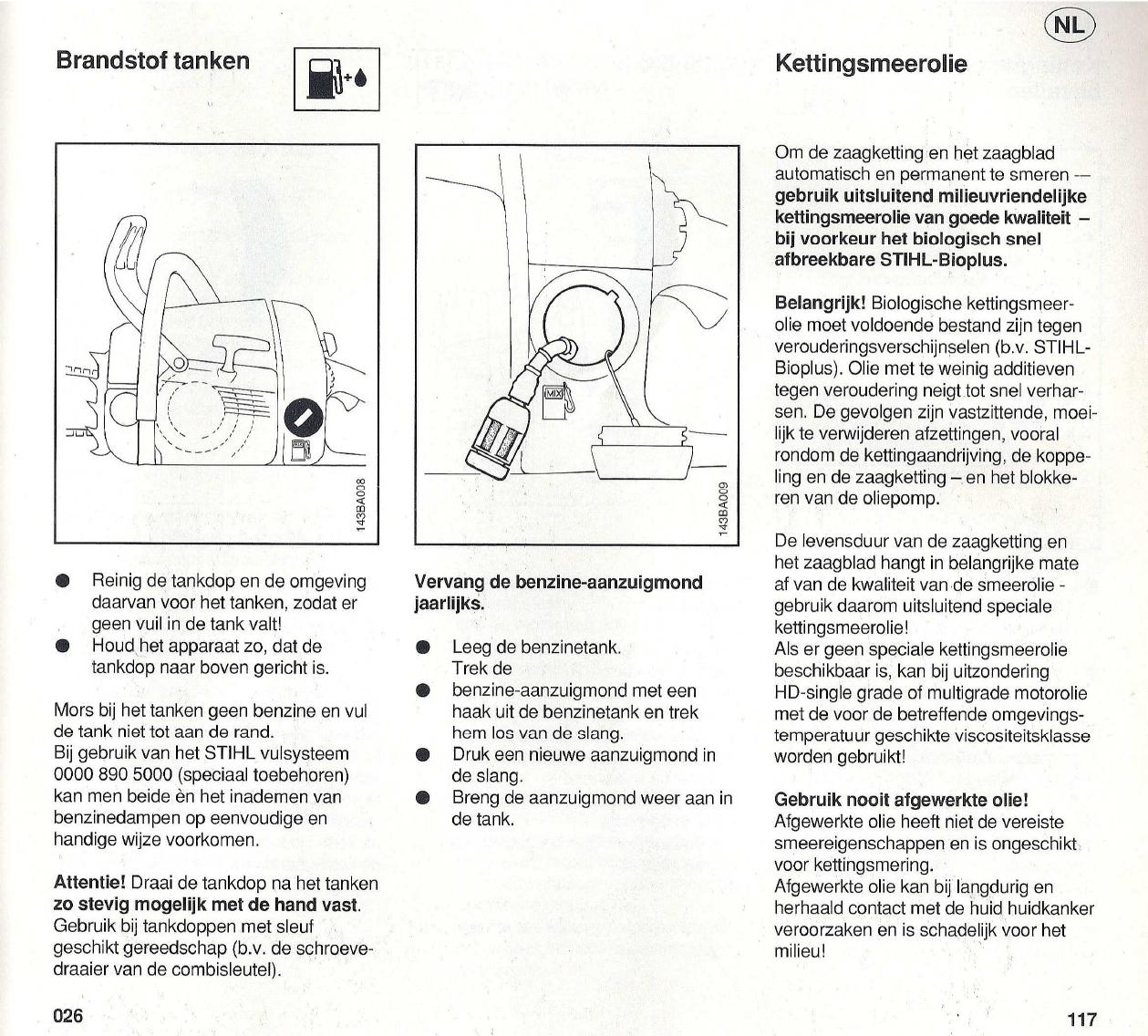 Handleiding Stihl 026 Pagina 20 Van 44 Nederlands