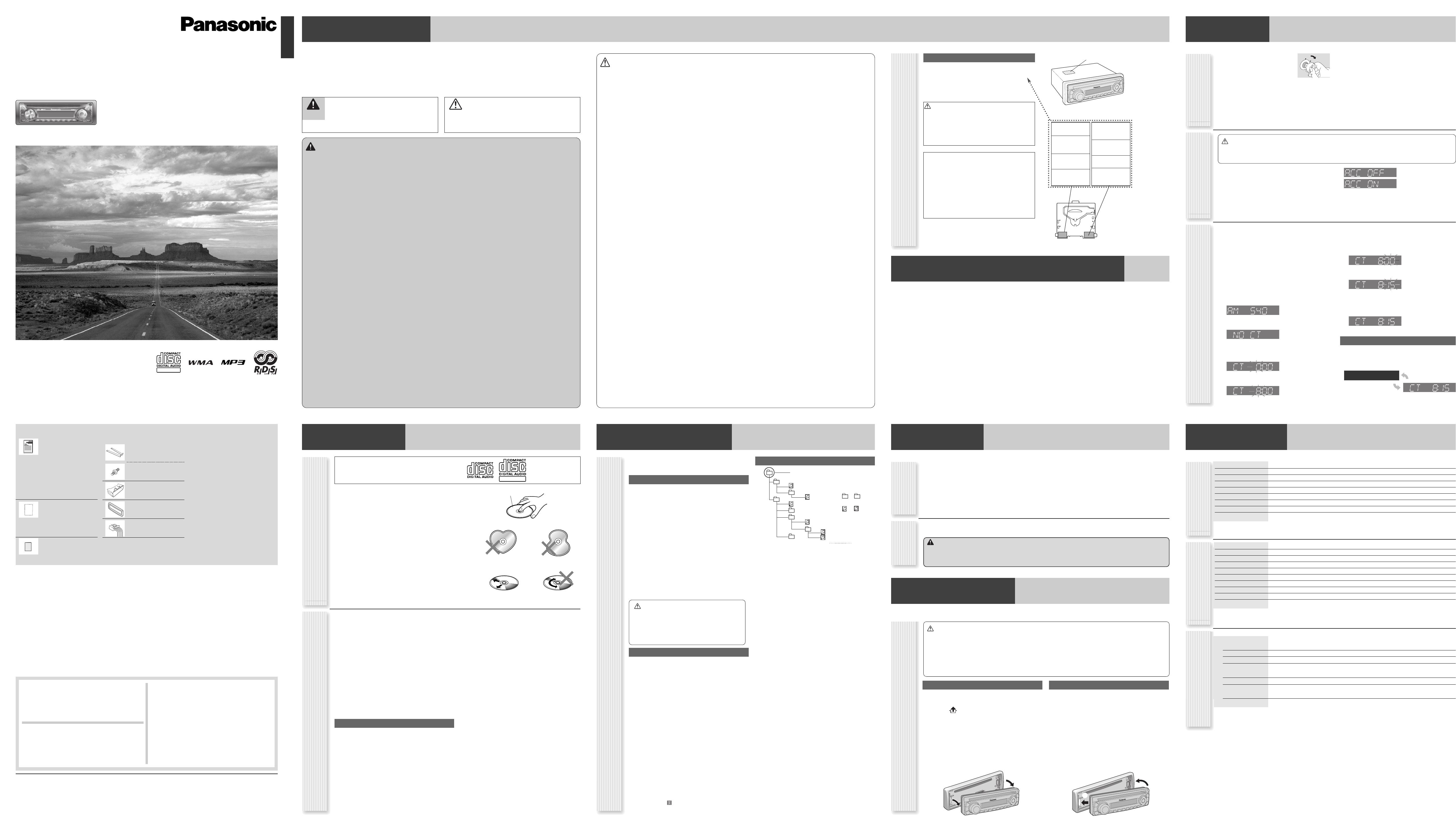 Handleiding Panasonic cq-c1312 (pagina 2 van 4) (English)