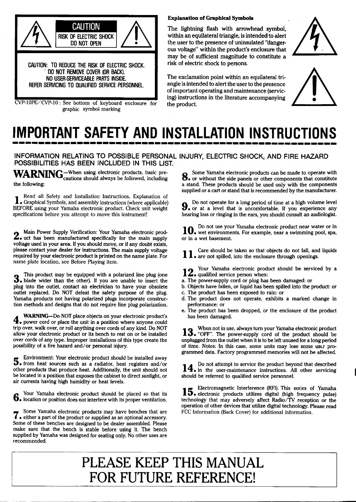 Handleiding Yamaha CVP-10 (pagina 1 van 31) (English)