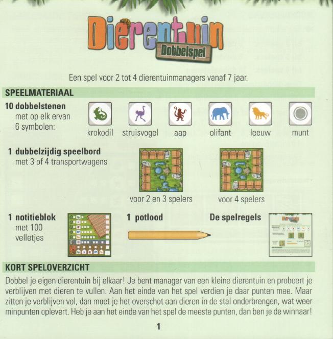 Handleiding 999 Games Dierentuin Dobbelspel Pagina 1 Van 6