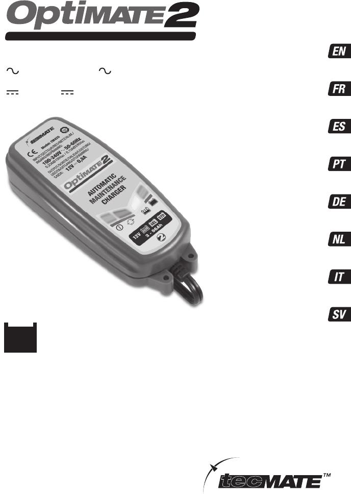 Handleiding Tecmate Optimate 2 Tm242 Pagina 1 Van 32 Deutsch