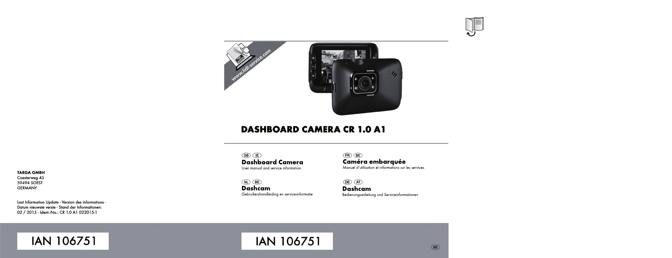 Handleiding targa cr 1 0a1 ian 106751 dashcam pagina 1 for Camera targa
