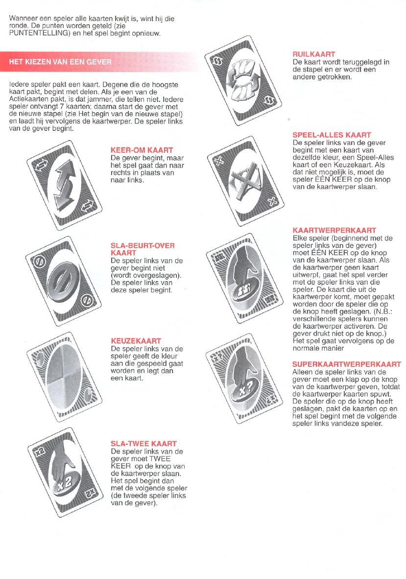 handleiding mattel uno extreme (pagina 1 van 4) (nederlands)
