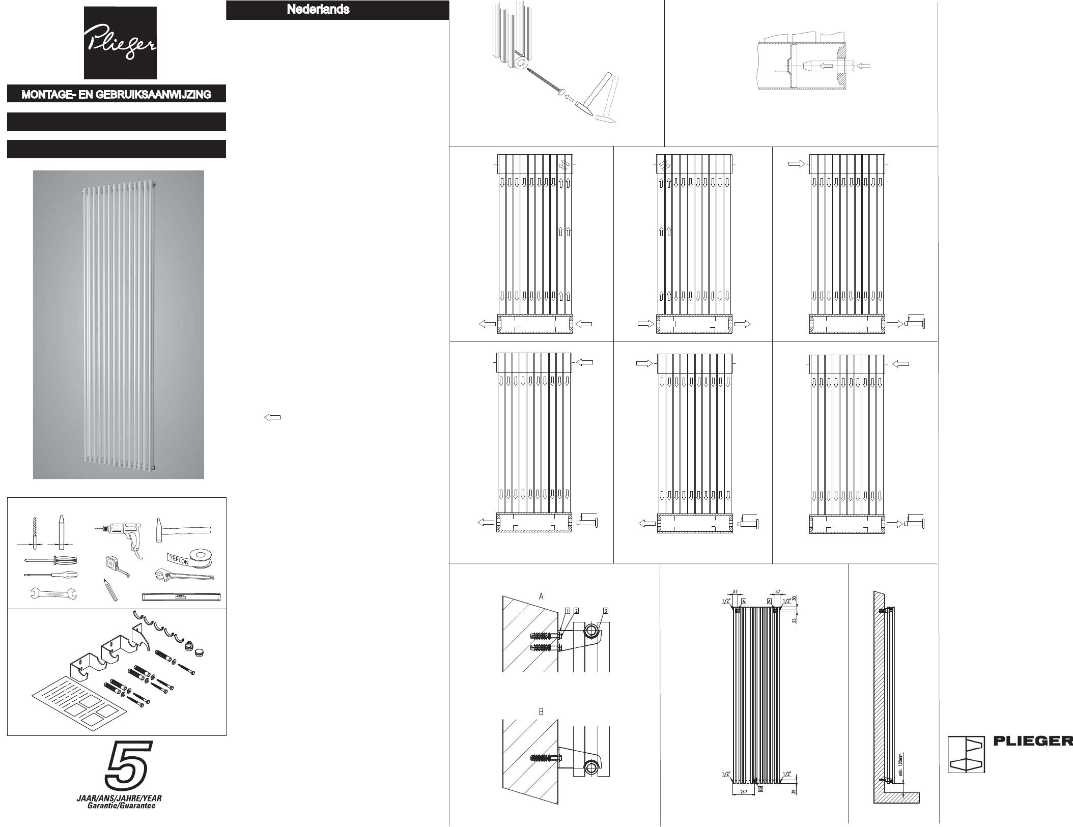 Plieger Radiator Ophangen.Handleiding Plieger Venezia Dubbel Pagina 1 Van 2