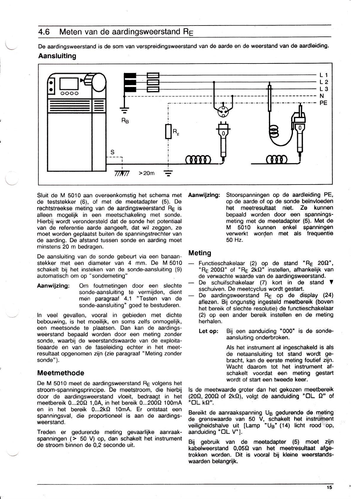 Aarding Meten Aardpen.Handleiding Abb Metrawatt M5010 Pagina 15 Van 24 Nederlands