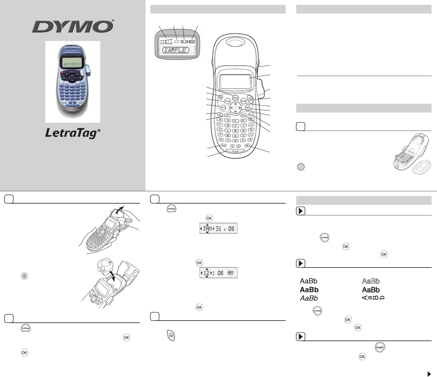 Handleiding Dymo Letratag Lt 100h Pagina 1 Van 2 English