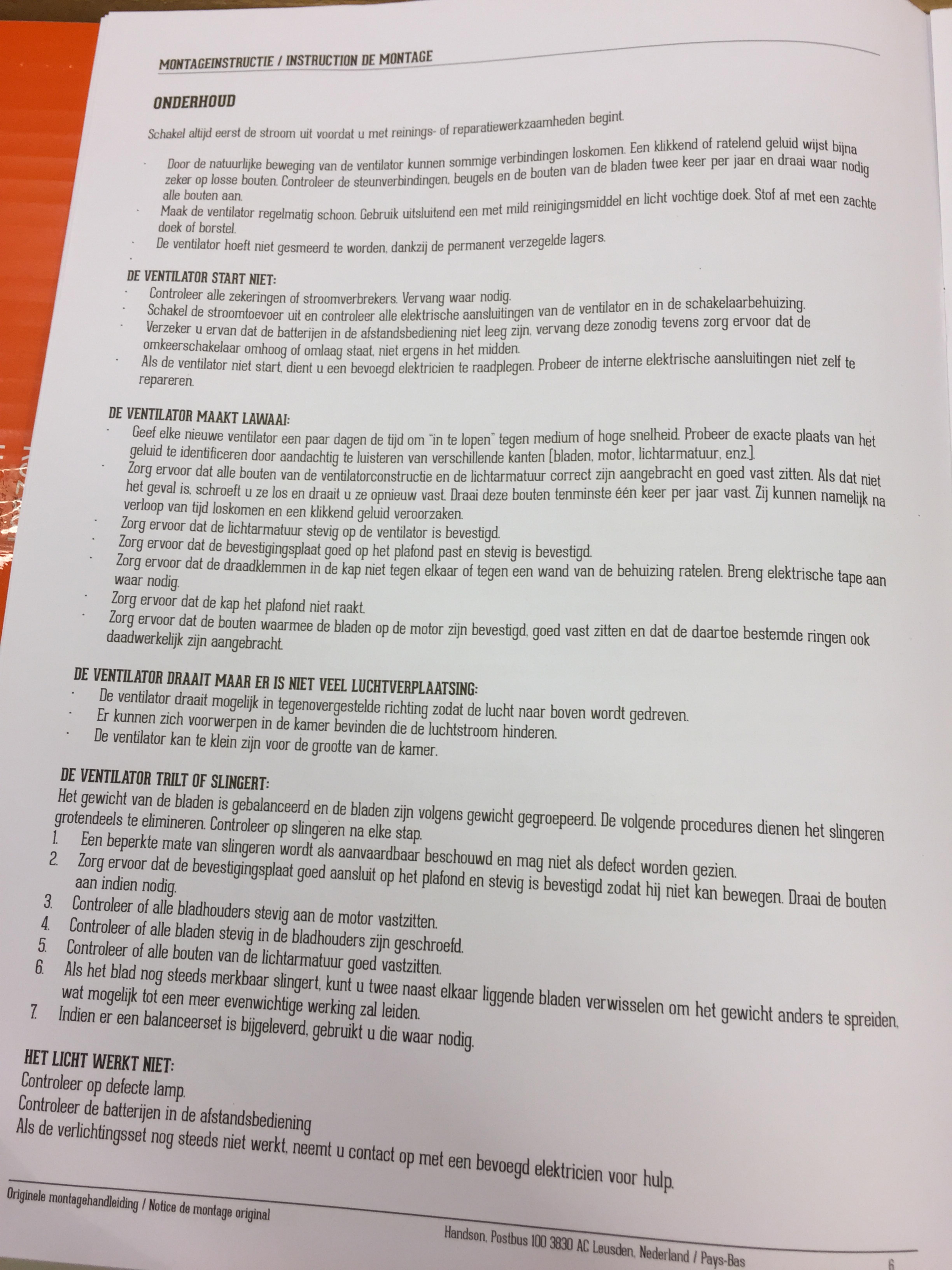 Beroemd Handleiding HANDSON BELLUNO (pagina 1 van 7) (Nederlands) WR02