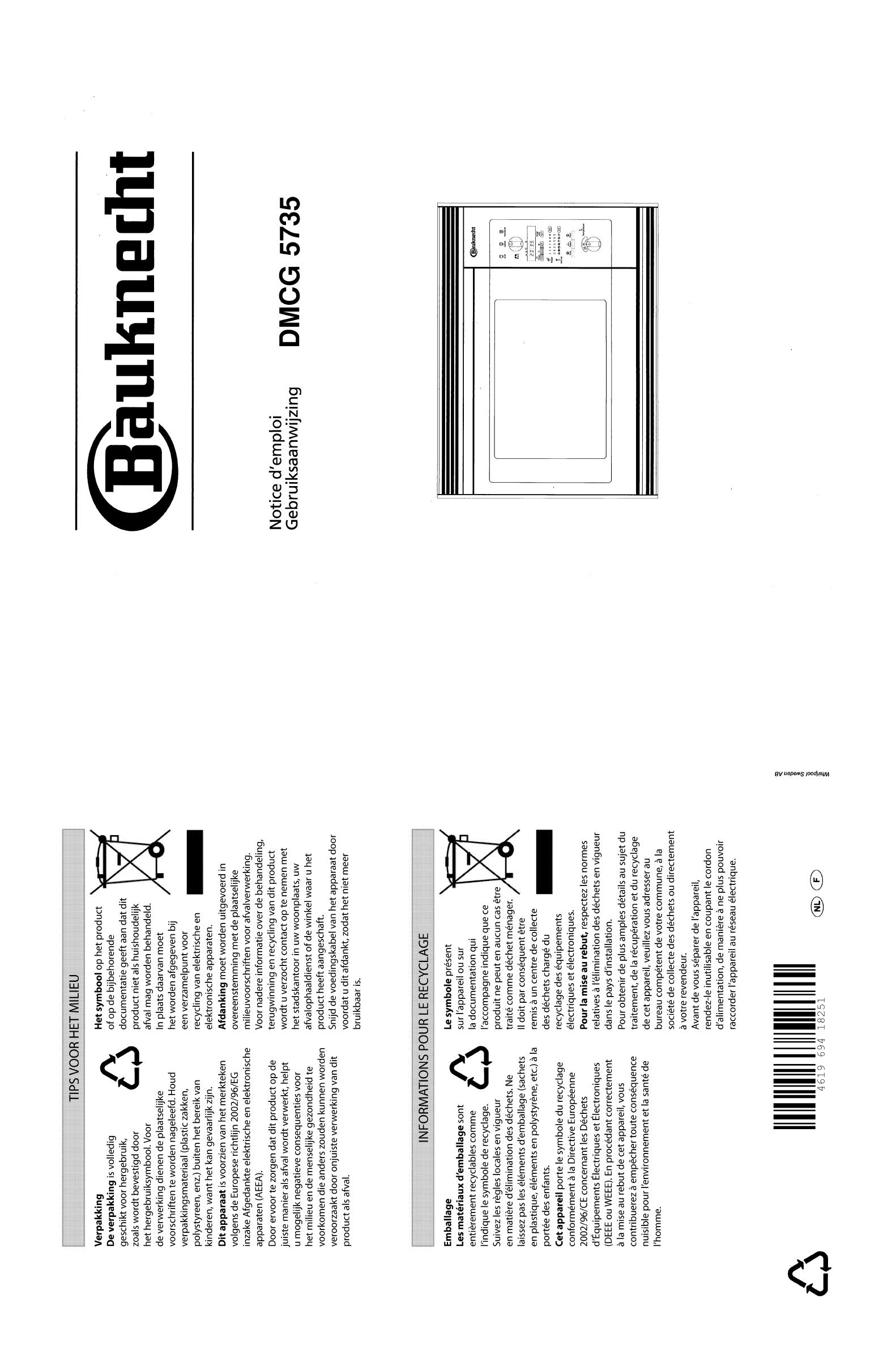 handleiding bauknecht dmcg 5735 pagina 1 van 28 fran ais nederlands. Black Bedroom Furniture Sets. Home Design Ideas