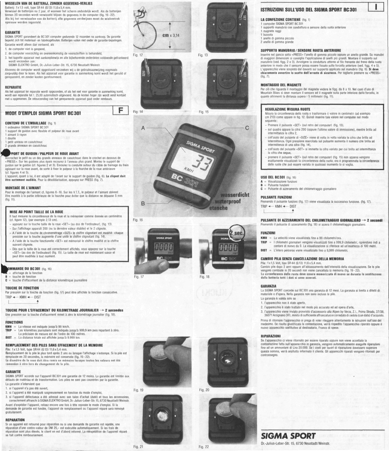 sigma bc 1609 manual english