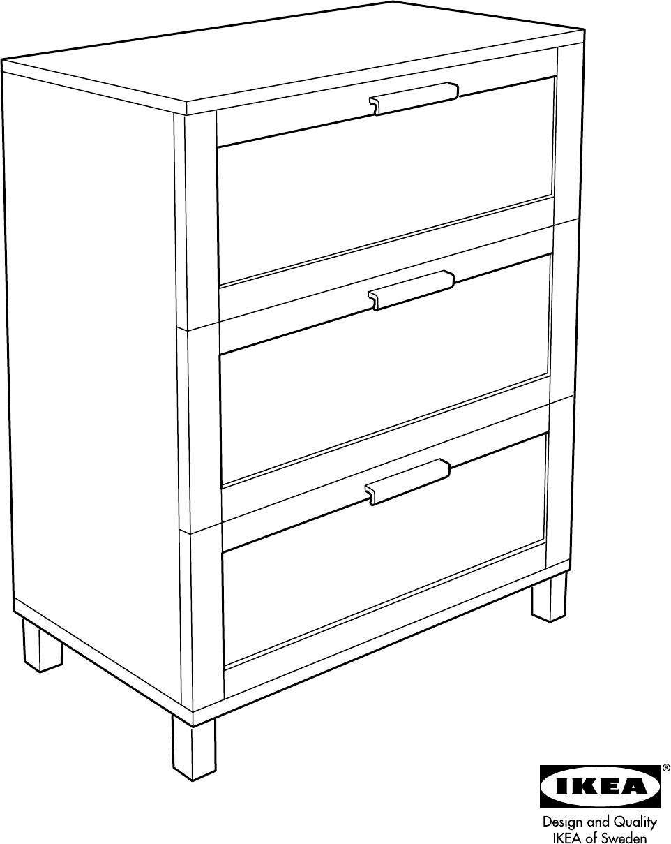 Handleiding Ikea Aneboda ladekast (pagina 1 van 12) (Dansk, Deutsch