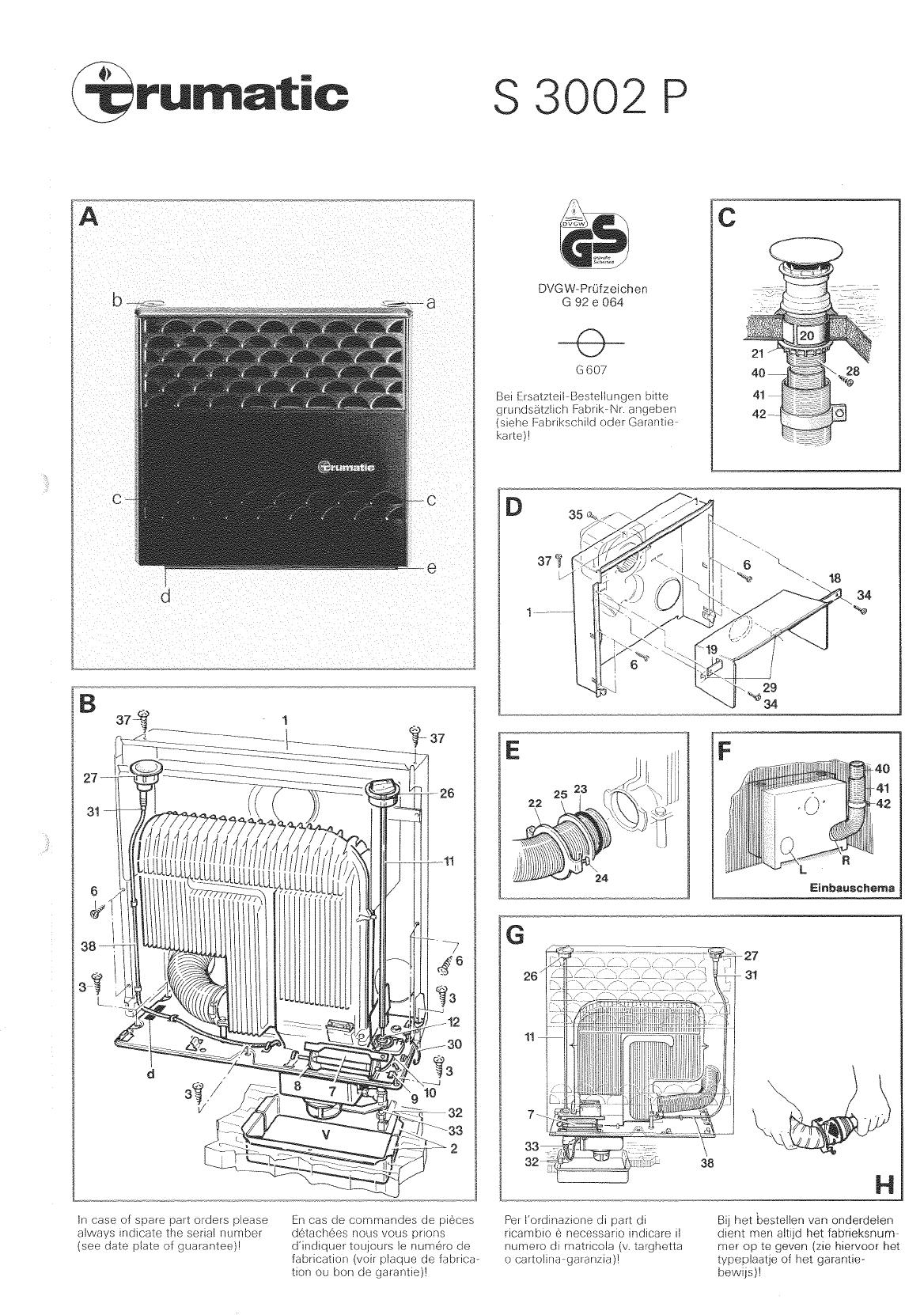 handleiding trumatic s3002p pagina 3 van 18 deutsch. Black Bedroom Furniture Sets. Home Design Ideas