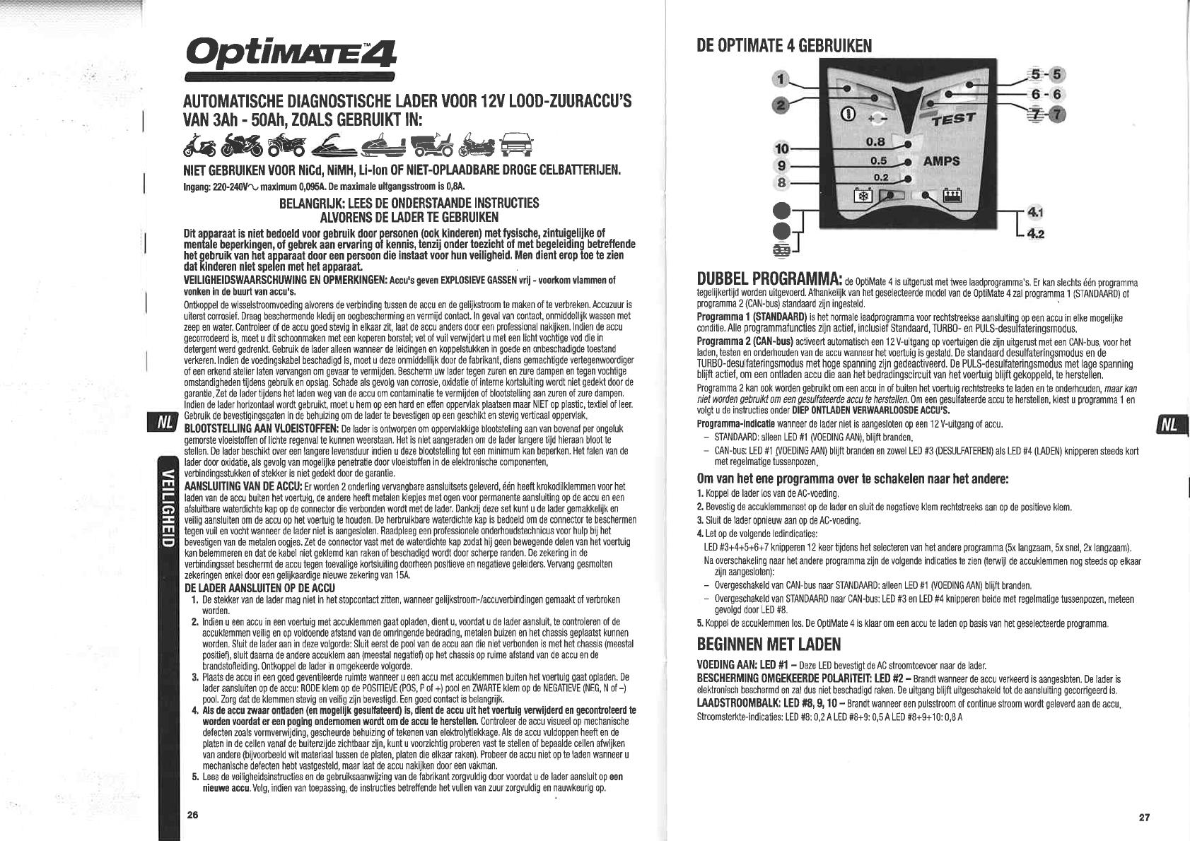 Handleiding Tecmate Optimate 4 Pagina 1 Van 4 Nederlands