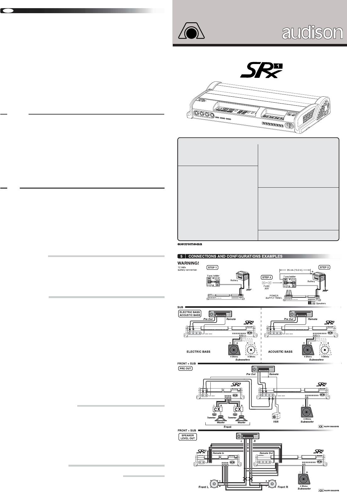 Audison srx 2s инструкция