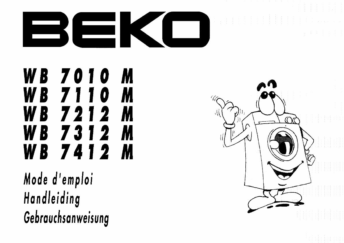 handleiding beko wb7110  pagina 1 van 30   nederlands