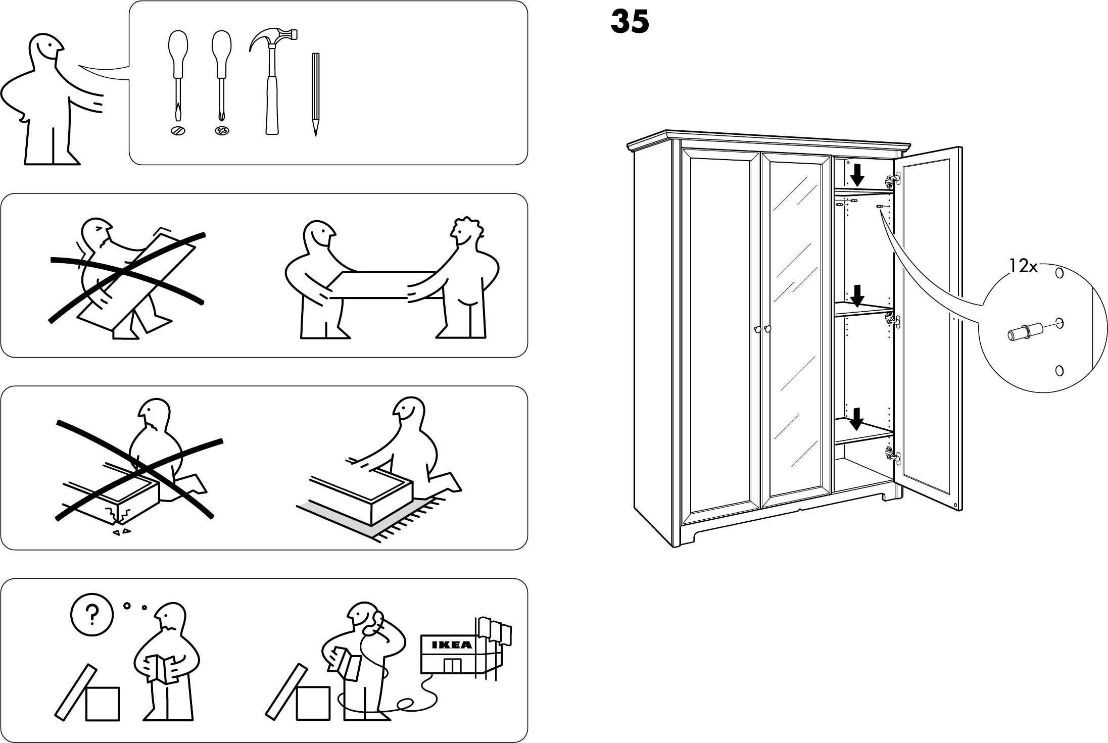 Aspelund Garderobekast Met 3 Deuren.Handleiding Ikea Aspelund Garderobekast Pagina 1 Van 14