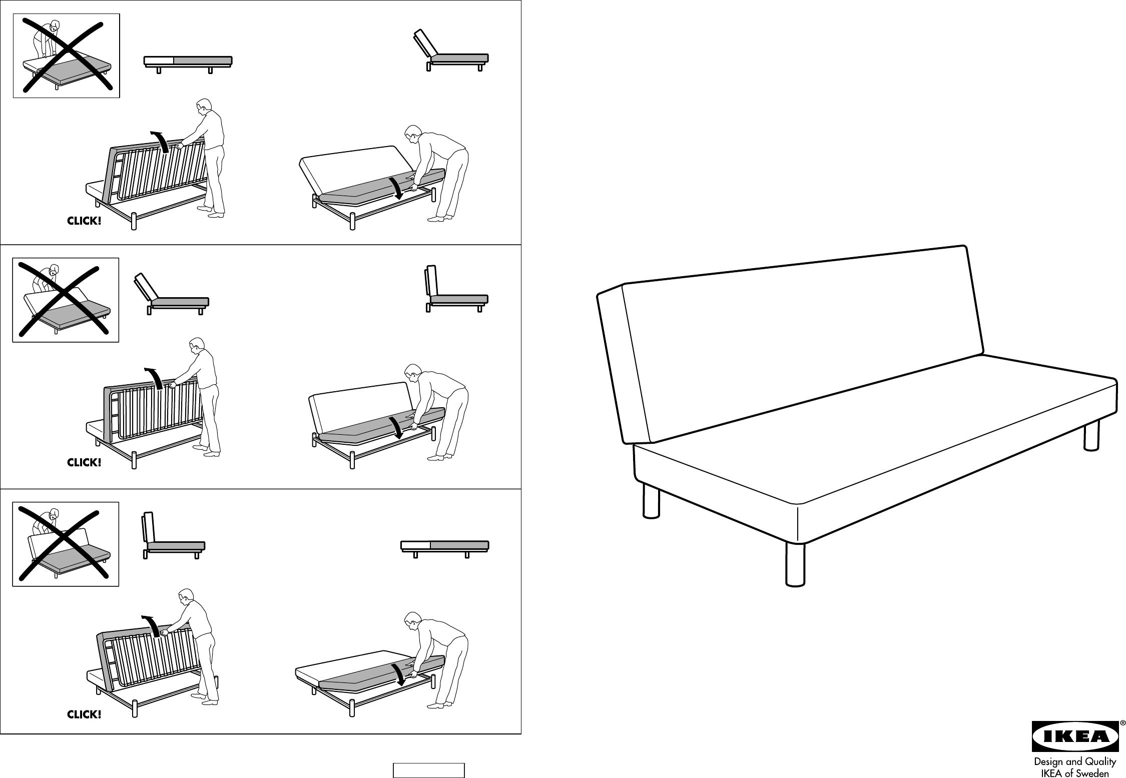 Ikea Beddinge Bedbank.Handleiding Ikea Beddinge Slaapbank Pagina 1 Van 4 Dansk