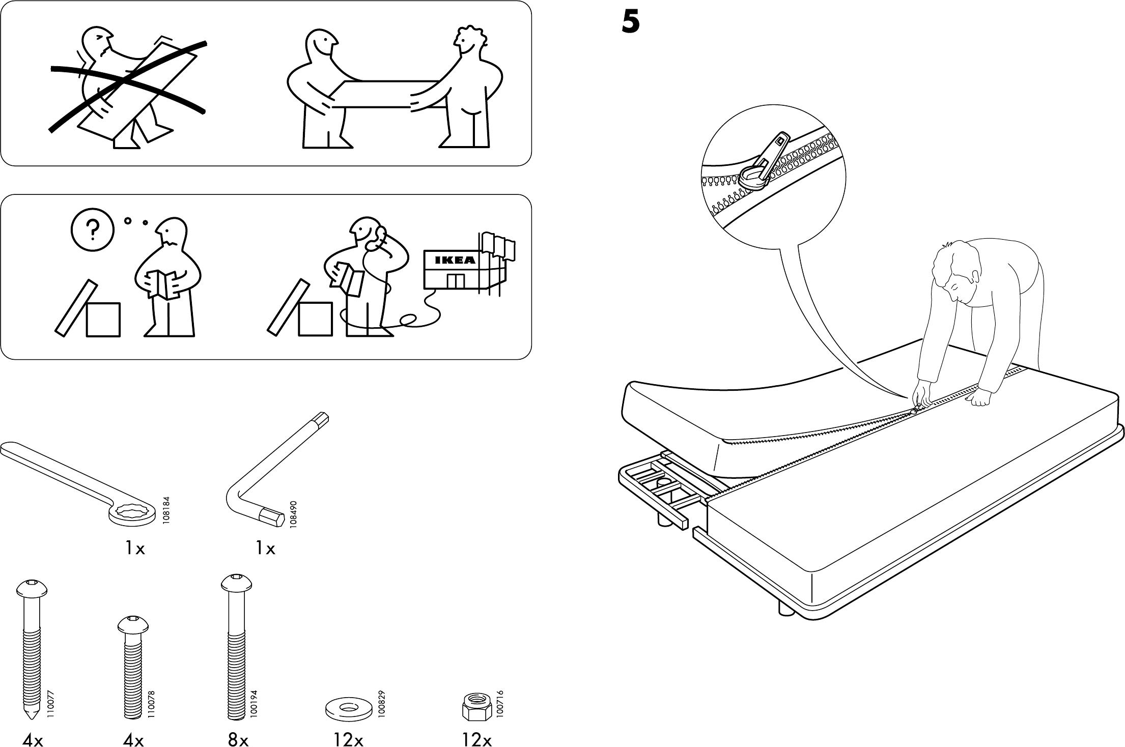 Ikea Beddinge Bedbank.Handleiding Ikea Beddinge Slaapbank Pagina 3 Van 4 Dansk