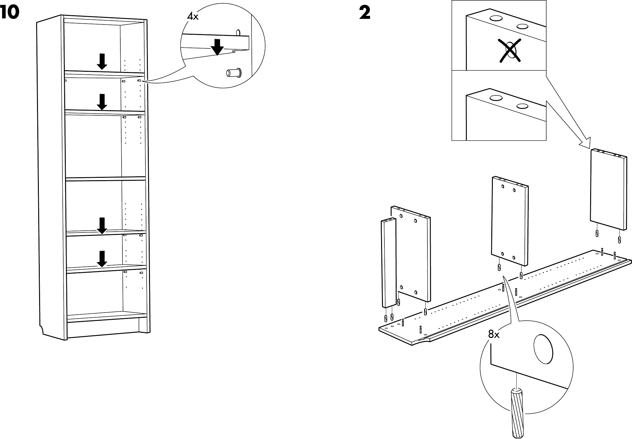 Handleiding Ikea Billy boekenkast 2 (pagina 4 van 8) (Dansk, Deutsch ...