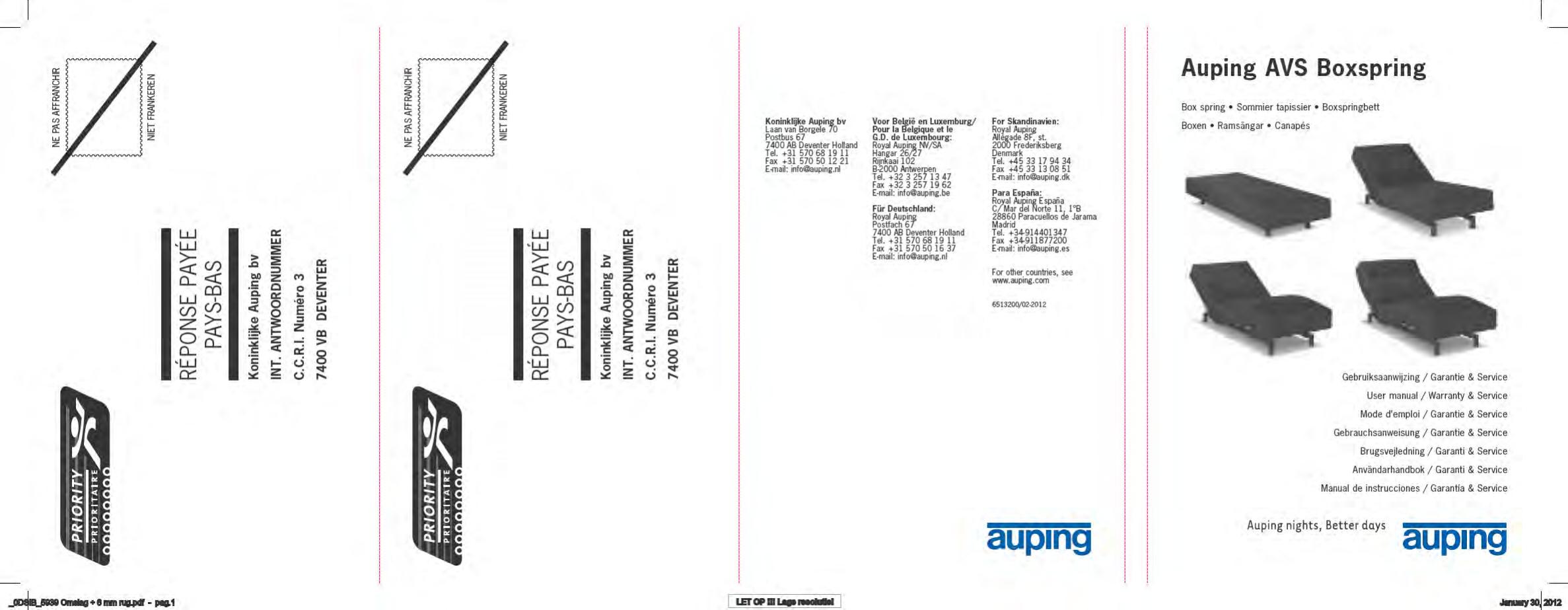 Auping Boxspring Boxton.Handleiding Auping Avs Boxspring Boxton Pagina 1 Van 102 Dansk