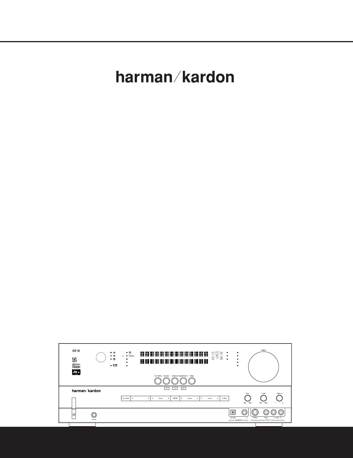 Handleiding Harman Kardon AVR130 (pagina 1 van 44) (English)