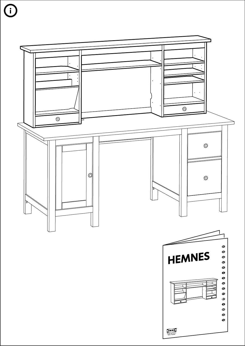 handleiding ikea hemnes bureau pagina 47 van 48 dansk deutsch english espan l fran ais. Black Bedroom Furniture Sets. Home Design Ideas