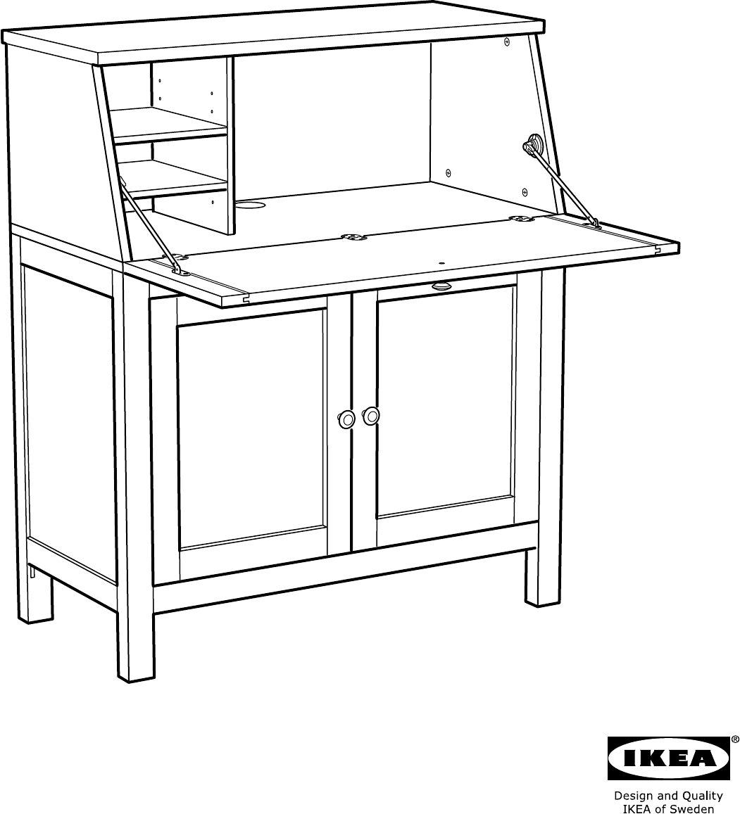 Handleiding ikea hemnes secretaire pagina 1 van 40 dansk deutsch english - Ikea secretaire bureau ...