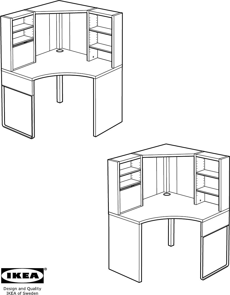handleiding ikea micke hoekbureau pagina 1 van 48 dansk. Black Bedroom Furniture Sets. Home Design Ideas