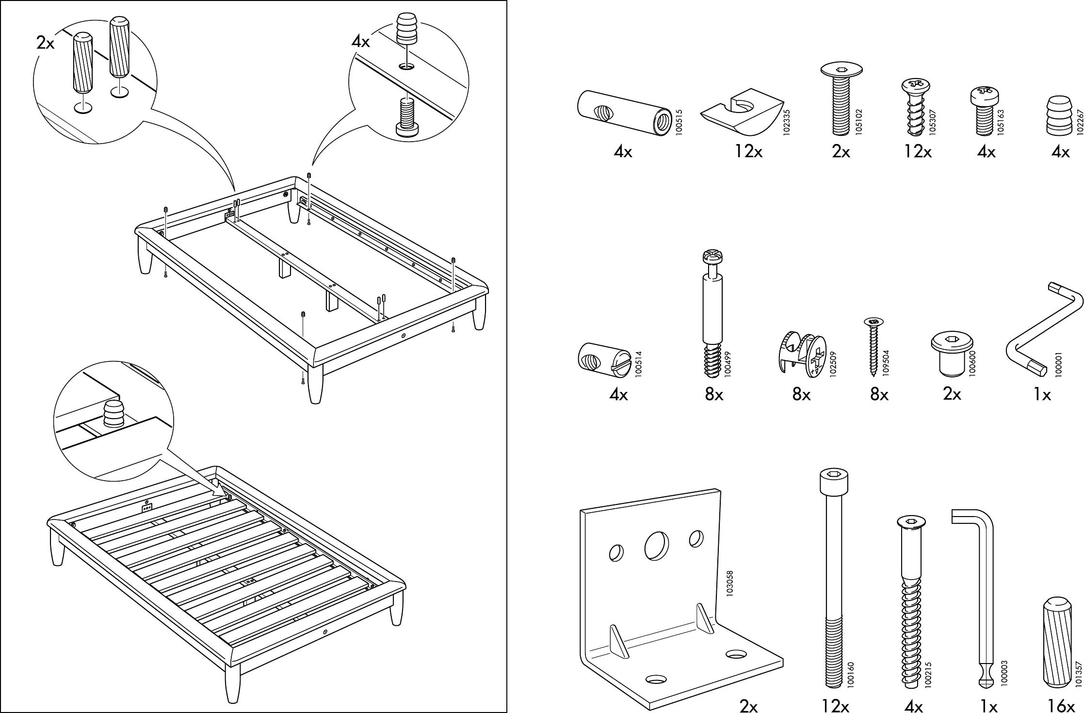 handleiding ikea hagali bedframe pagina 3 van 10 dansk deutsch english espan l fran ais. Black Bedroom Furniture Sets. Home Design Ideas