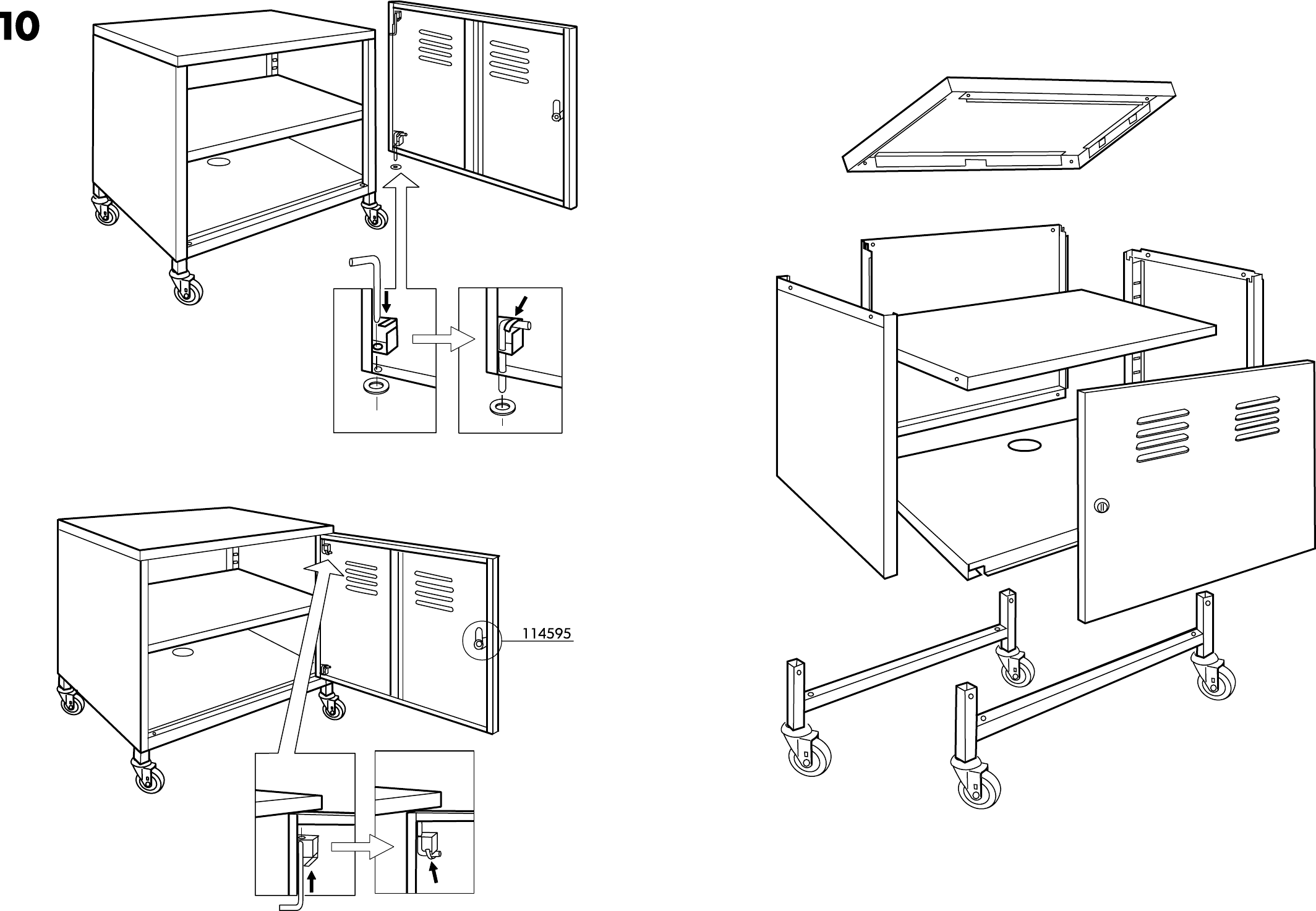 Handleiding Ikea PS kast op wielen (pagina 3 van 6) (Dansk, Deutsch