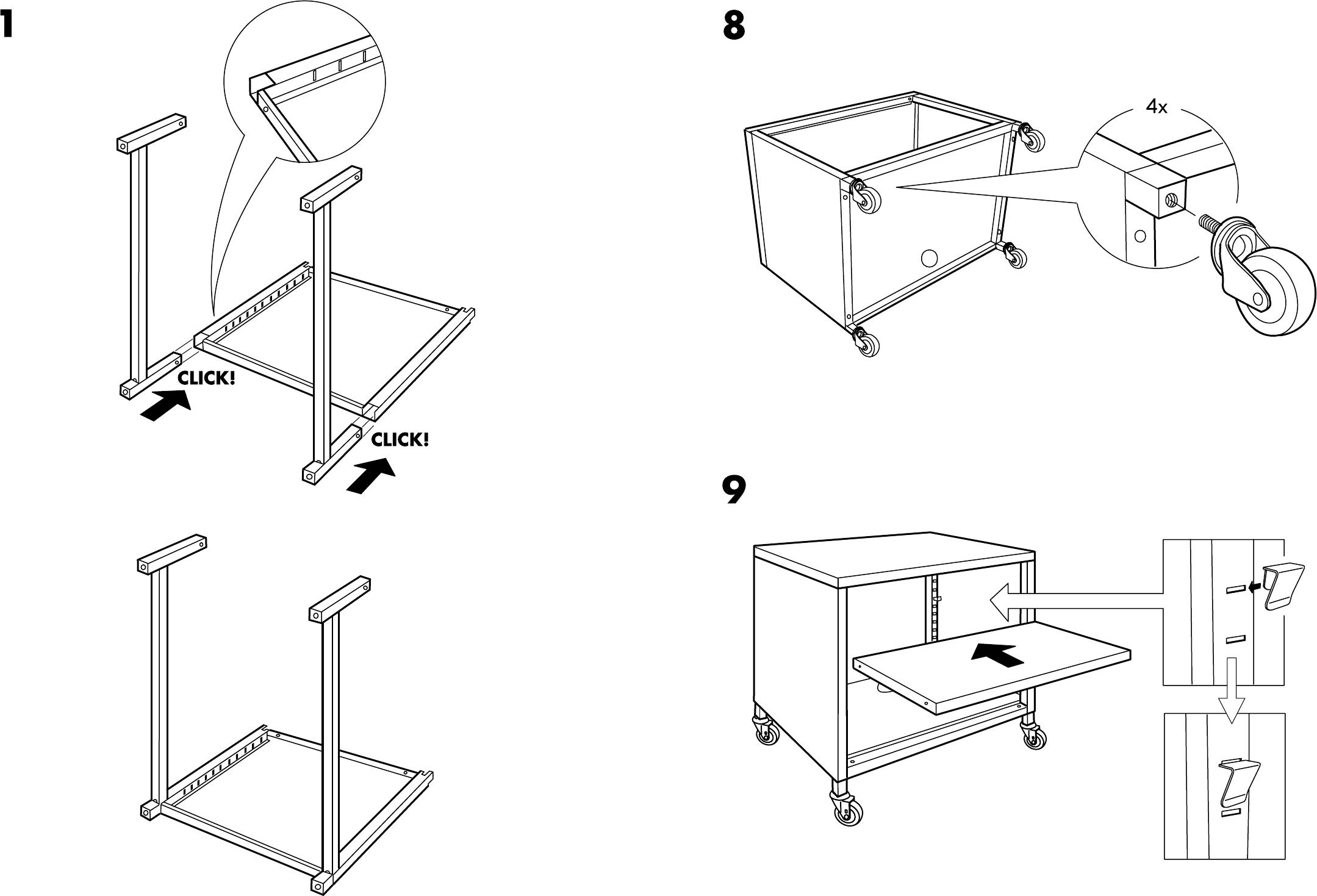Schreibtisch Ikea Weiß Billig ~ Handleiding Ikea PS kast op wielen (pagina 4 van 6) (Dansk, Deutsch