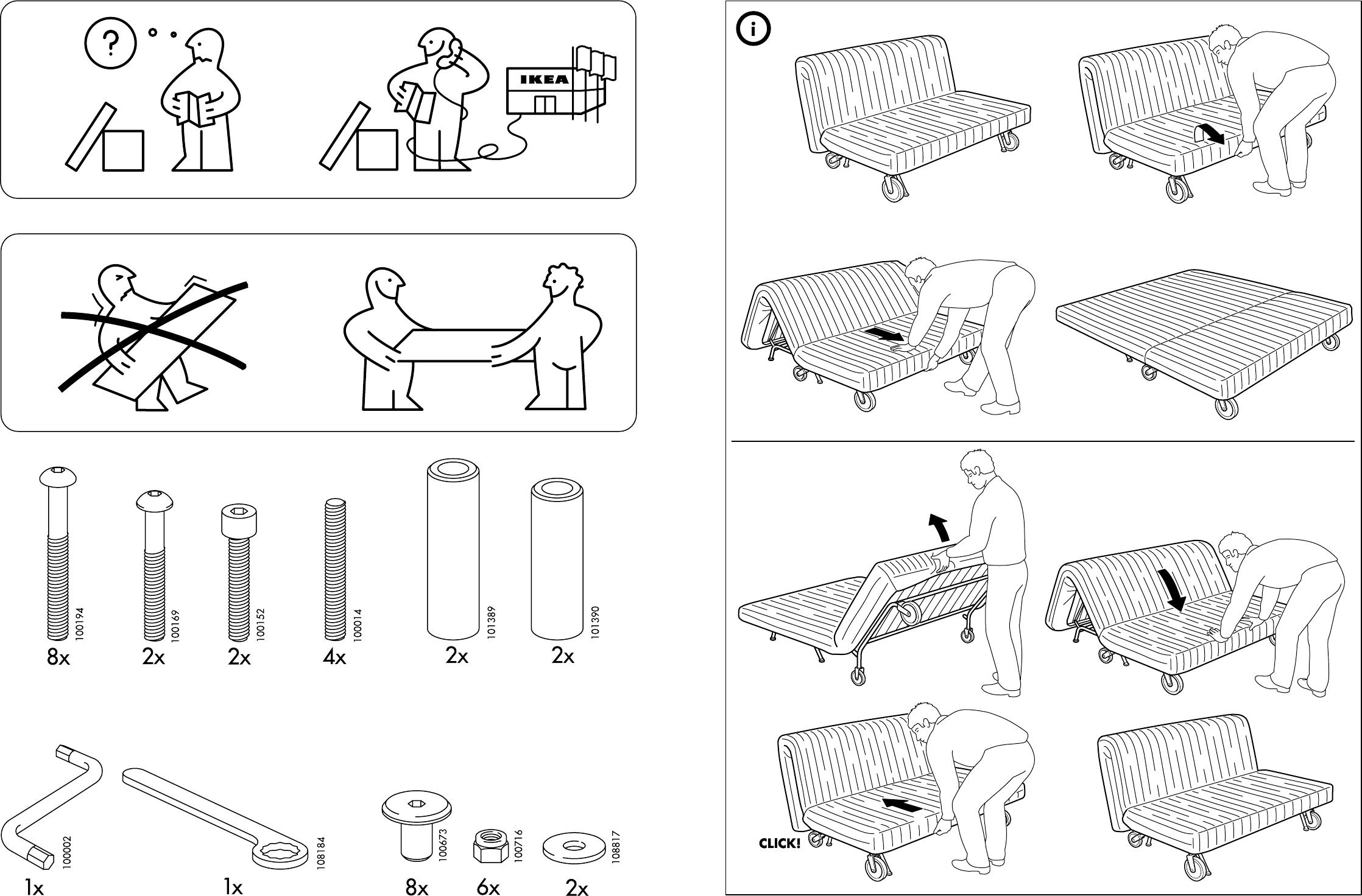 Slaapbank Ikea Ps Havet.Handleiding Ikea Ps Onderstel Slaapbank Pagina 6 Van 6 Dansk