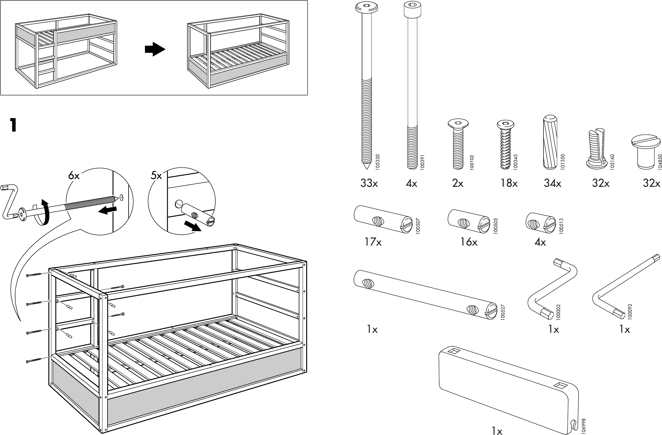 Kura Reversible Bed Assembly Instructions
