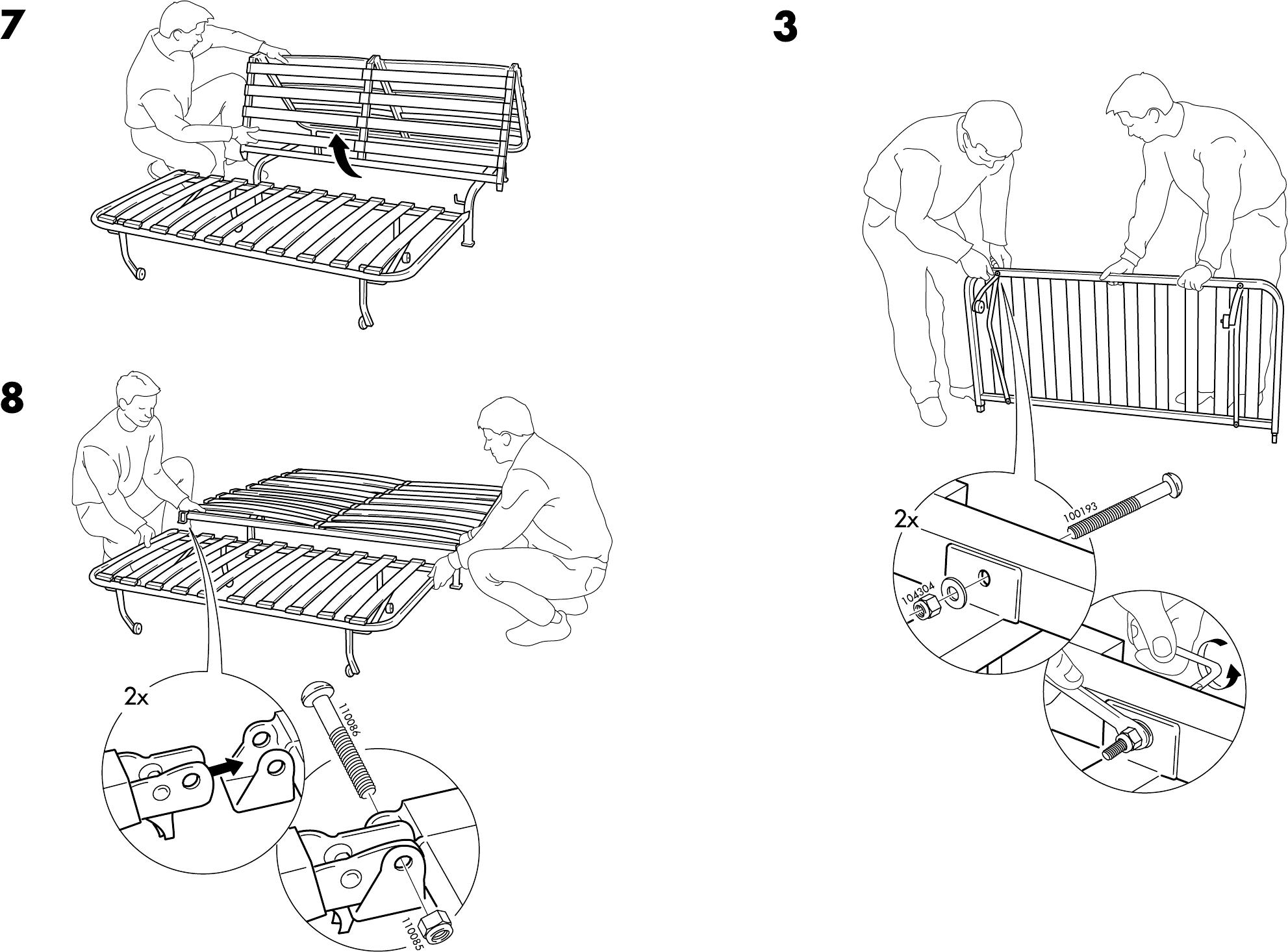 Lyksele Slaapbank Ikea.Handleiding Ikea Lycksele Onderstel Slaapbank Pagina 5 Van 6