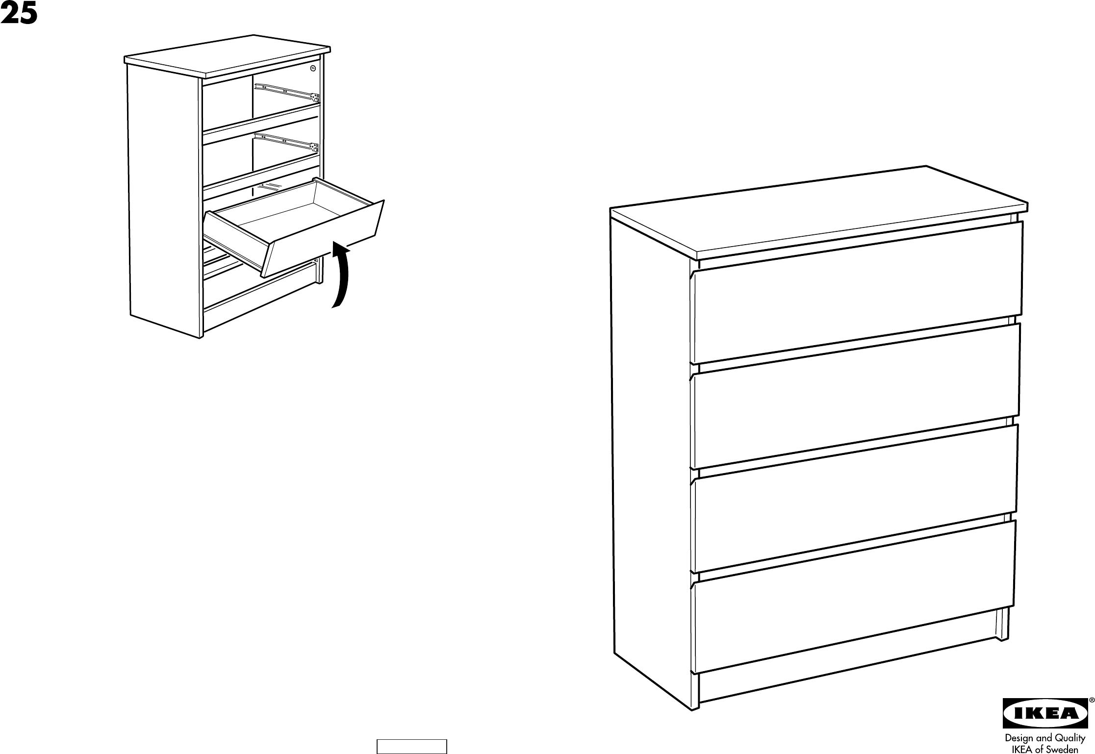 Ikea Malm Ladekast Handleiding.Handleiding Ikea Malm Ladekast 4 Pagina 1 Van 8 Dansk