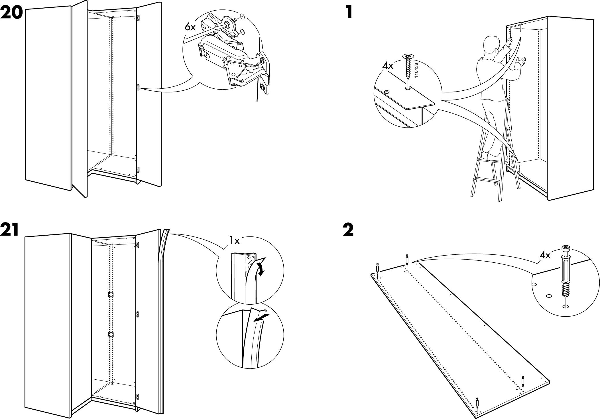 handleiding ikea pax hoekkast pagina 16 van 18 dansk