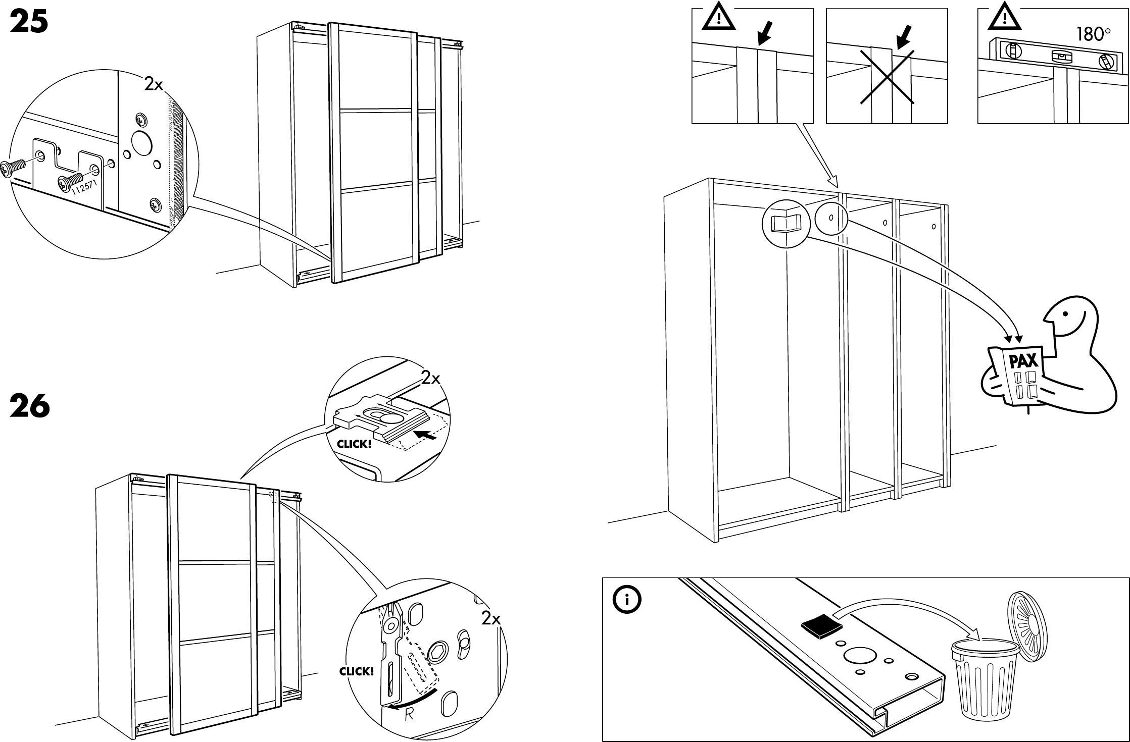 Schuifdeuren Ikea Pax.Handleiding Ikea Pax Hakadal Schuifdeuren Pagina 5 Van 12 Dansk