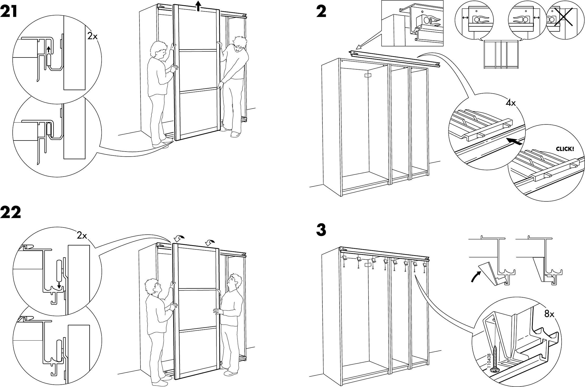 Ikea Schuifdeuren Monteren.Handleiding Ikea Pax Hakadal Schuifdeuren Pagina 6 Van 12 Dansk