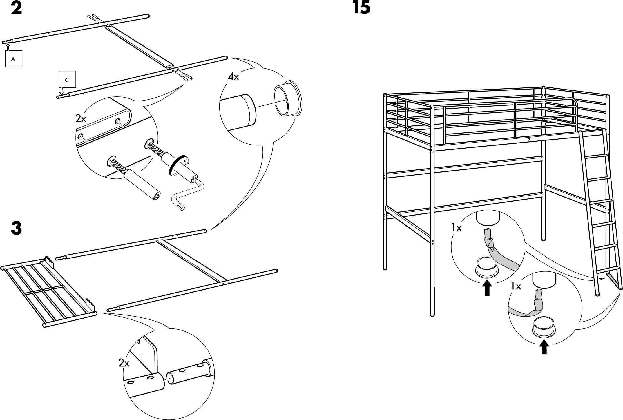 Ikea Vradal Halfhoogslaper.Handleiding Ikea Tromso Hoogslaper Pagina 4 Van 8 Dansk Deutsch