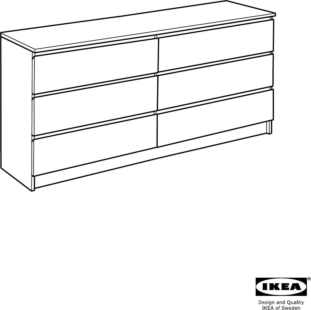 Handleiding Ikea Malm Ladekast Met 6 Lades 160cm Pagina 1