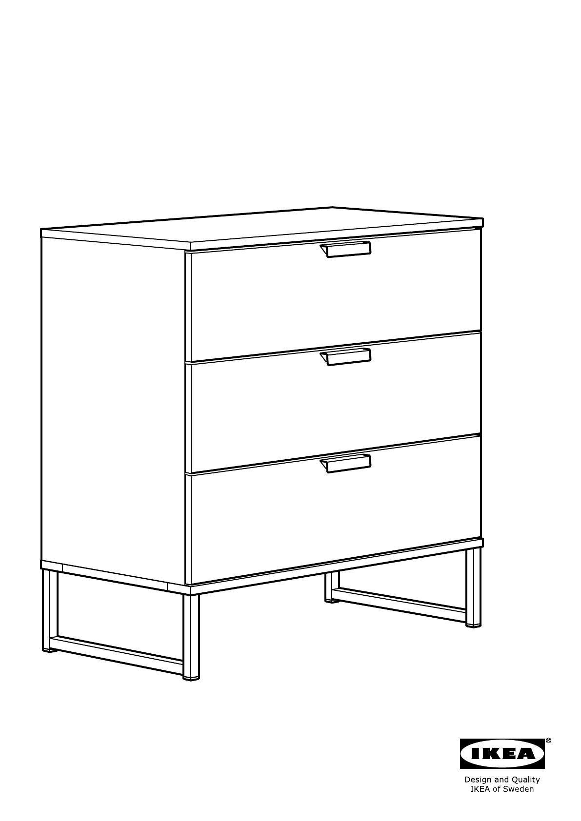 Handleiding Ikea Trysil Ladekast 3 Lades Pagina 1 Van 24