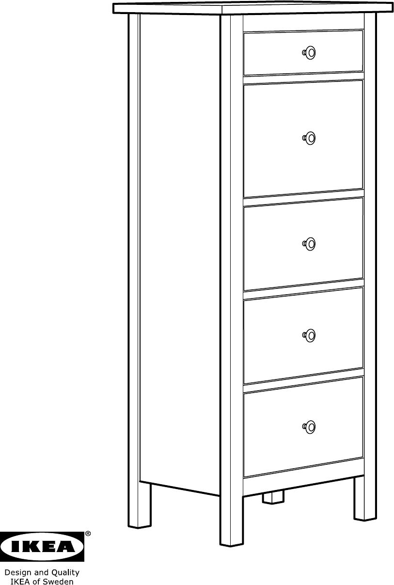 Ikea Hemnes Ladekast Zwart.Handleiding Ikea Hemnes Ladekast 5 Lades Pagina 1 Van 24 Dansk