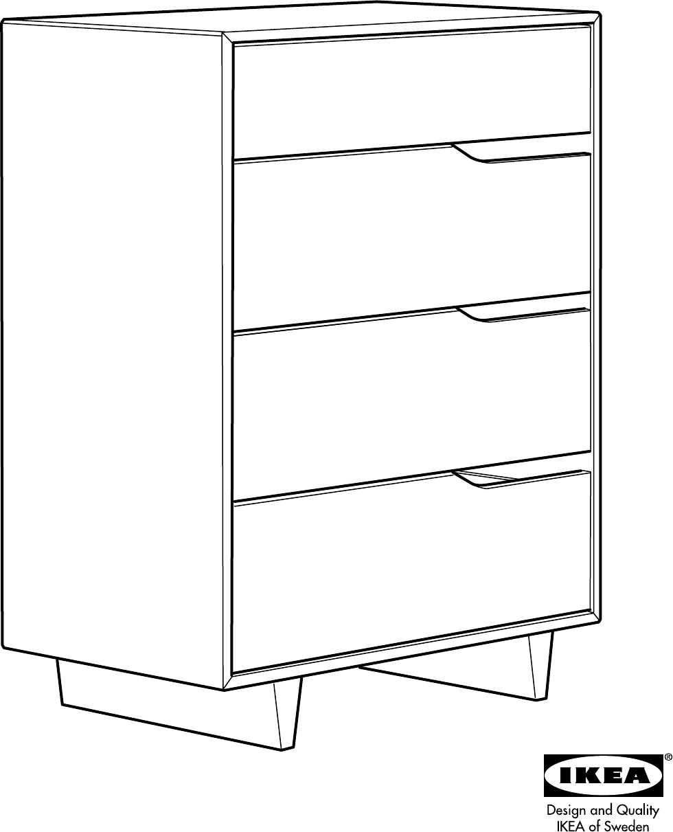 Ladekast Ikea Zwart.Handleiding Ikea Mandal Ladekast Met 4 Lades Pagina 1 Van