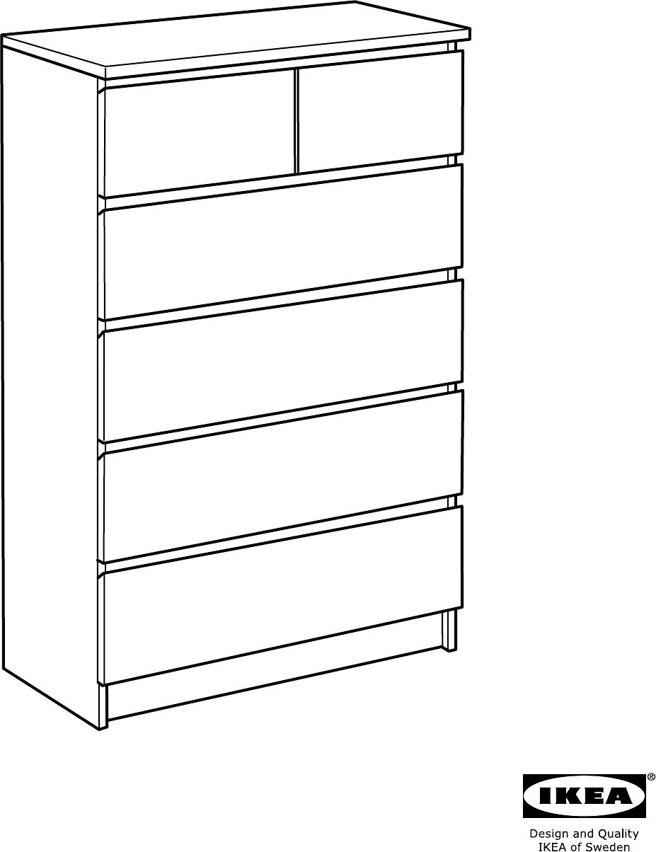 Ikea Malm Ladekast Handleiding.Handleiding Ikea Malm Ladekast Met 6 Lades 80cm Pagina 1