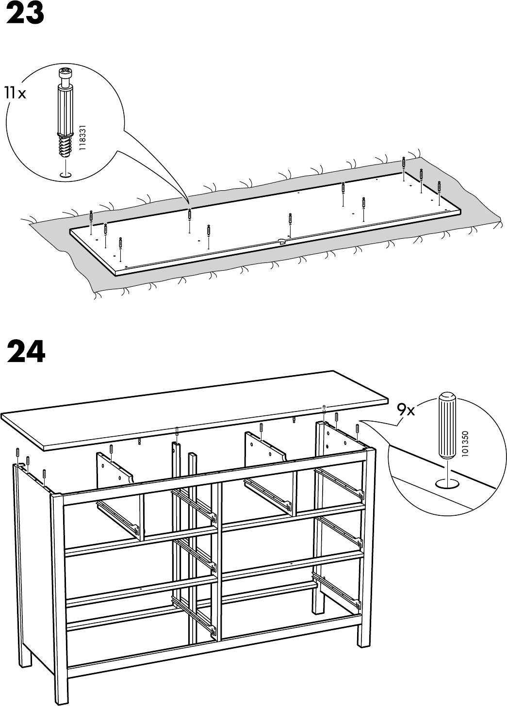 Hemnes Ladekast 8.Handleiding Ikea Hemnes Ladekast 8 Lades Pagina 22 Van 32 Dansk