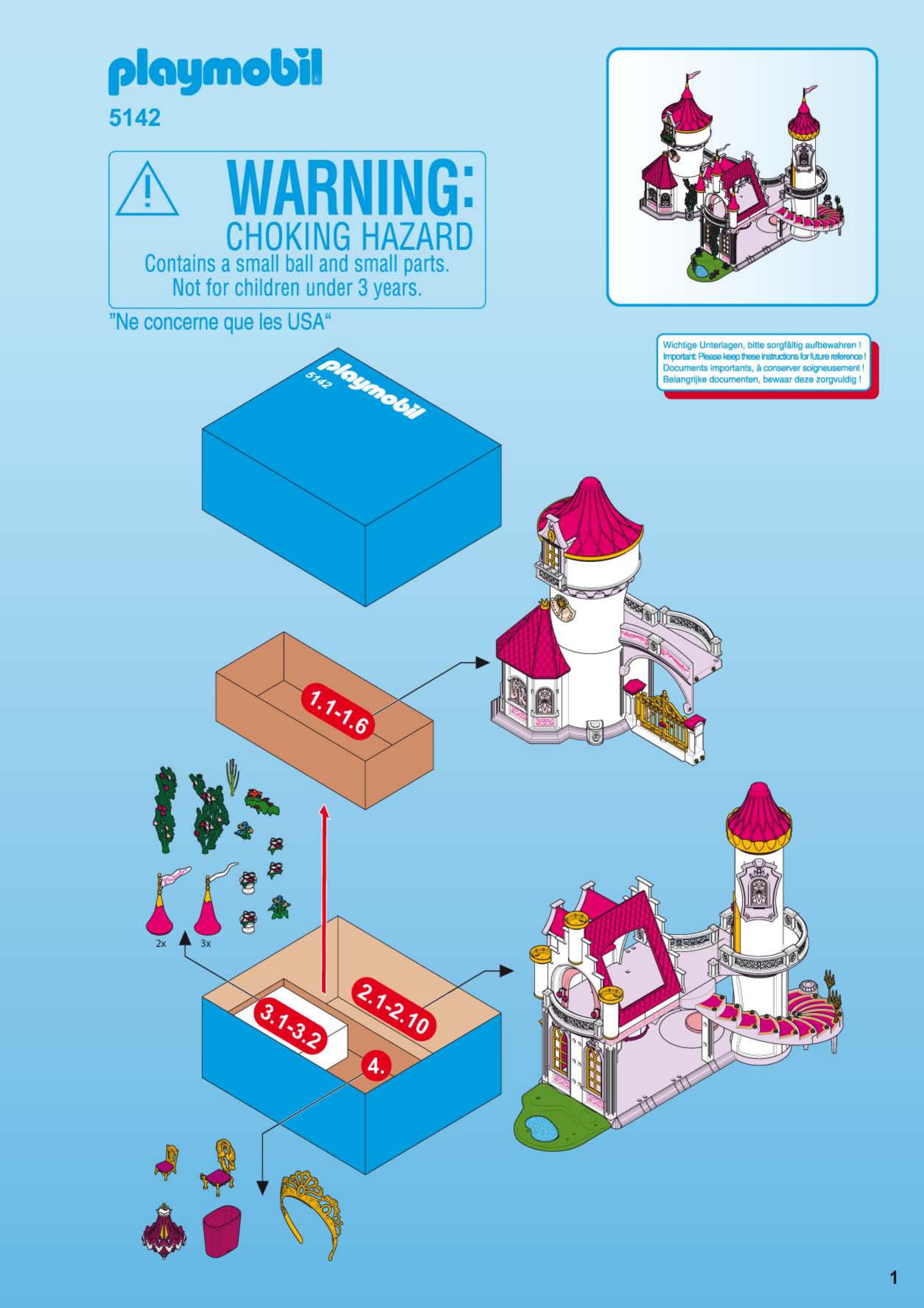 Handleiding playmobil 5142 pagina 1 van 28 dansk for Notice de montage chateau princesse playmobil
