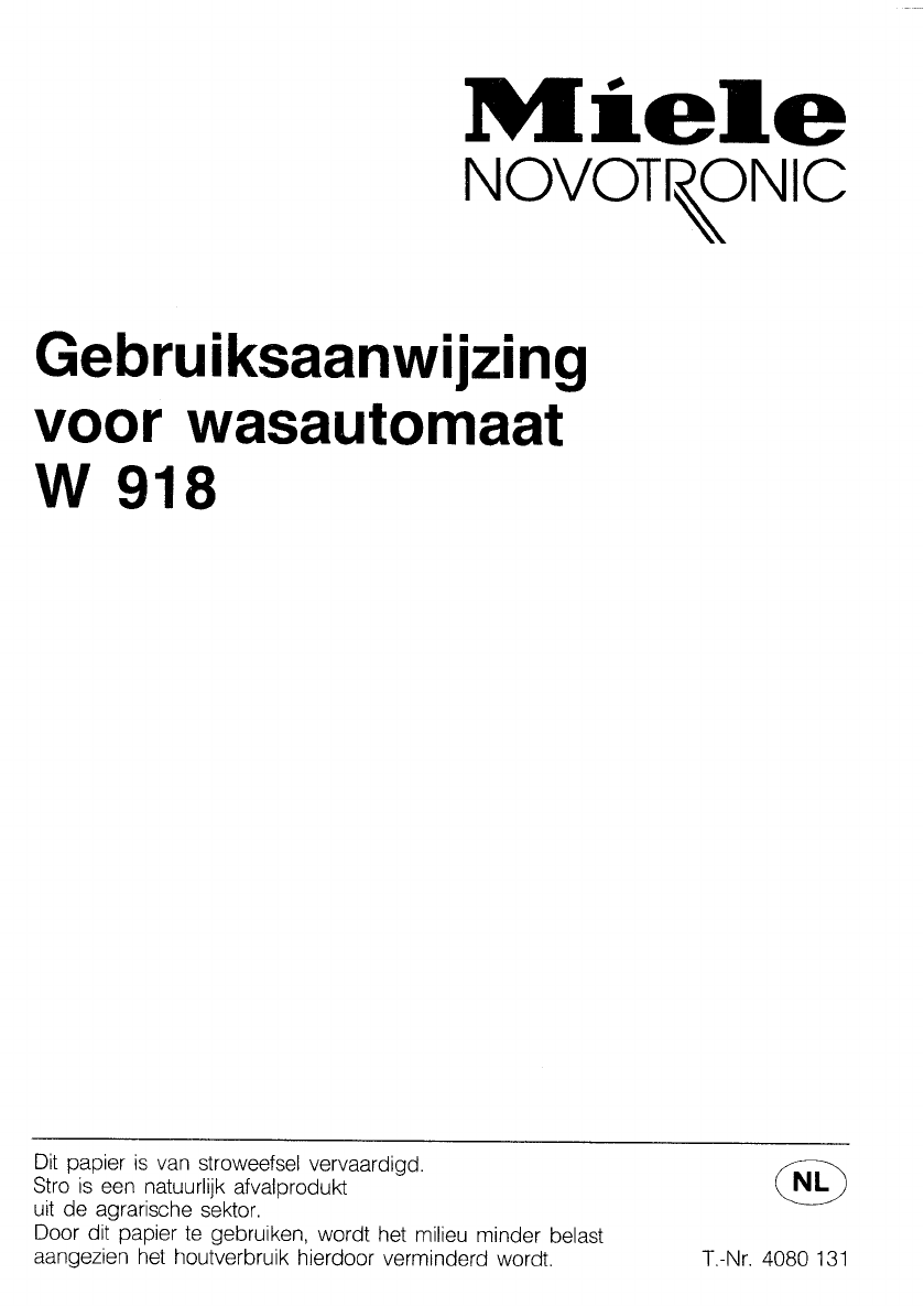 Genoeg Handleiding Miele w 918 (pagina 1 van 48) (Nederlands) HF46