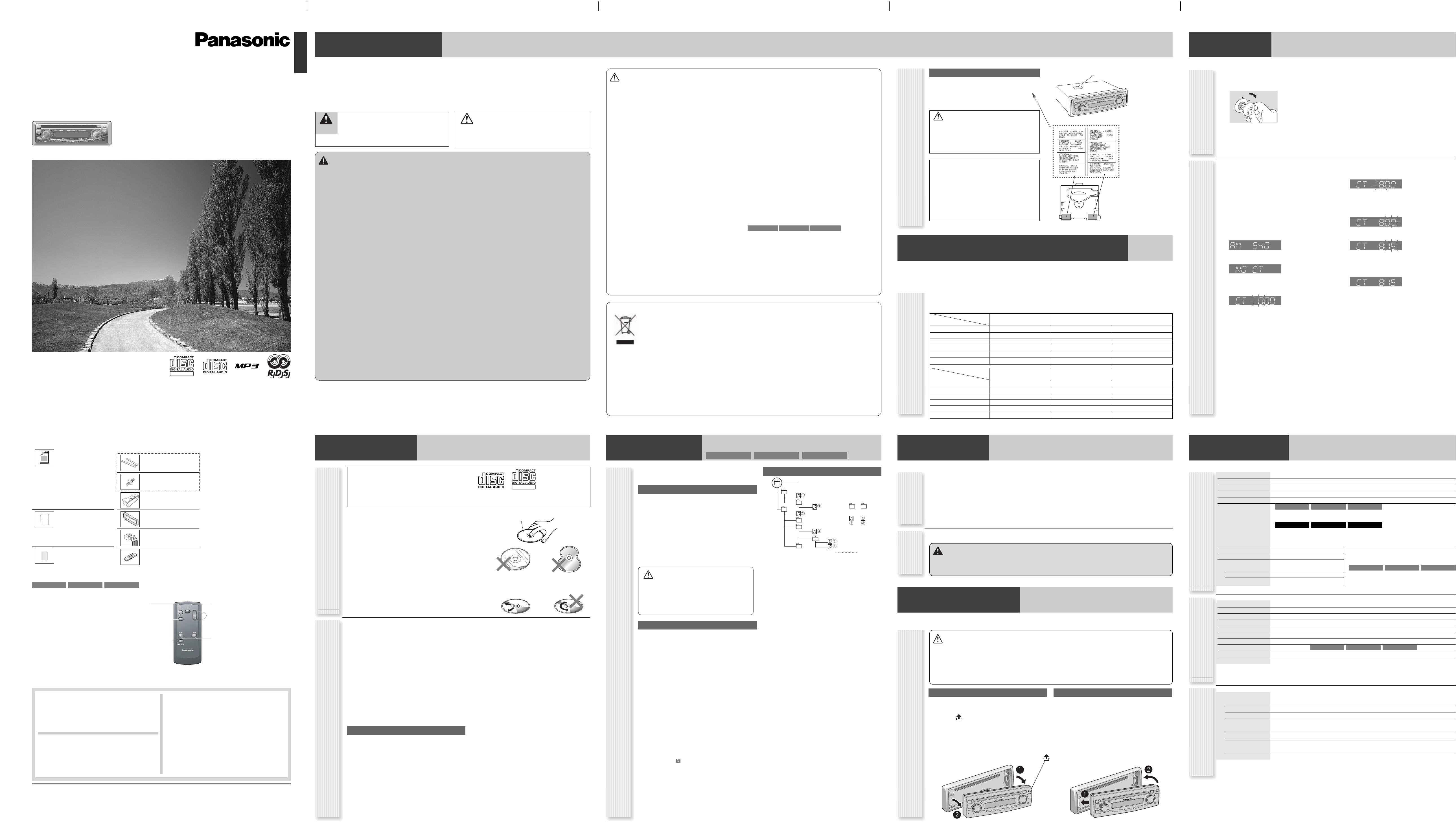 Handleiding Panasonic cq-c1303 (pagina 1 van 4) (English)